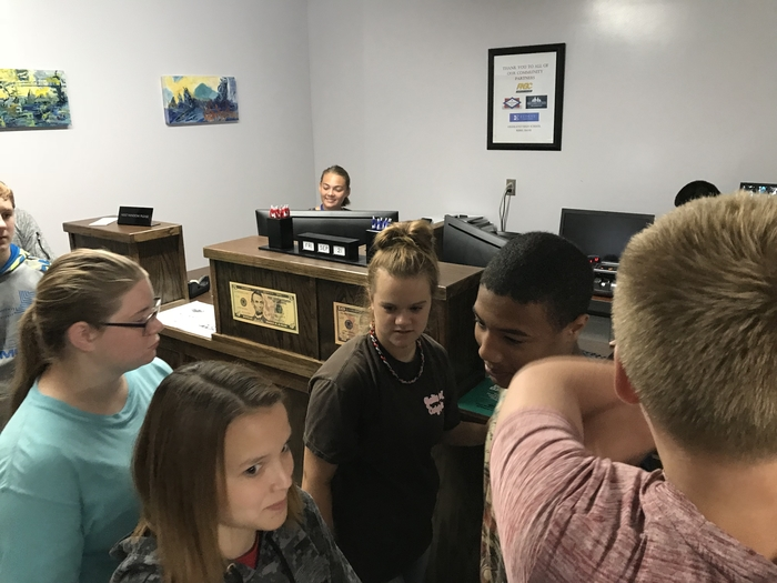 Students visited the Rebel bank.