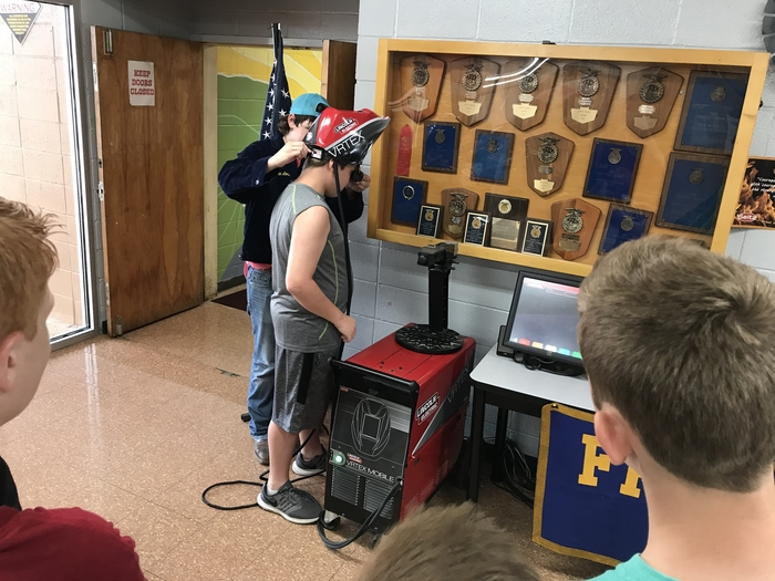Students experienced a welding simulation.