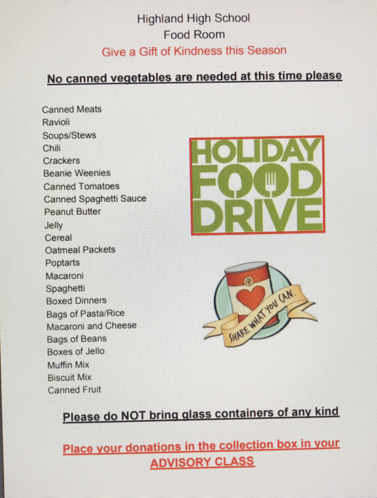 HHS Holiday Food Drive